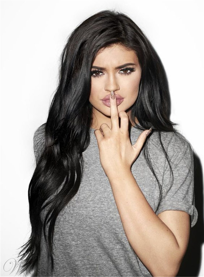 Kylie Jenner Long Wavy Lace Front Cap Synthetic Hair Wig 22 Inches