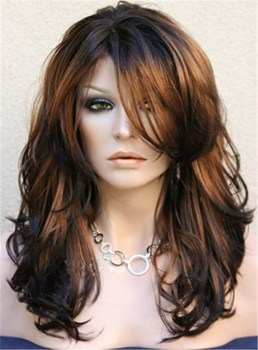 Long Layered Wavy Side Swept Fringes Hairstyle Synthetic Lace Front Wigs 20 Inches