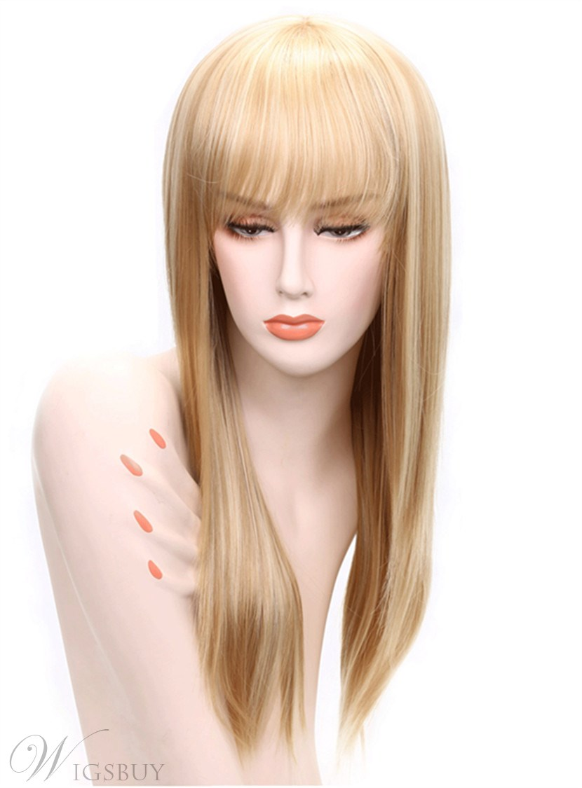 Aisi? Long Straight Blonde With Bangs Hairstyle Capless Synthetic Hair Wig 26 Inches 12679696