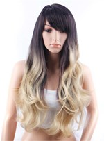 Aisi® Long Loose Wavy Side Swept Fringes Hairstyle Synthetic Capless Wig 30 Inches