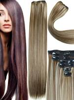 Long Straight Mixed Color Synthetic Hair 7 Pcs Clip In Extensions