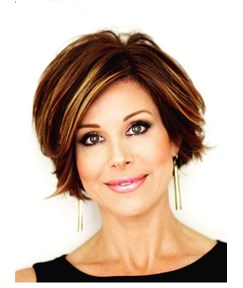 Short Straight Mixed Color Lob Side Swept Fringes Hairstyle Lace Front Human Hair Wigs 10 Inches
