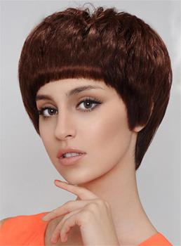 Cute Full Bangs Capless Short Straight Synthetic Hair Wig 8 Inches