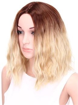 Aisi® Medium Wavy Bob Hairstyle Capless Blonde 12 Inches Synthetic Hair Wig