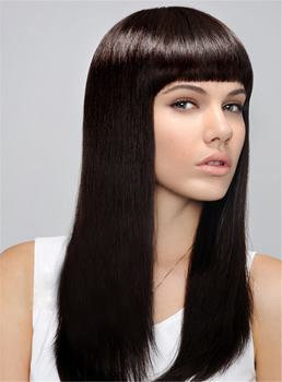 Full Bangs Long Straight Capless Synthetic Hair Wig 18 Inches