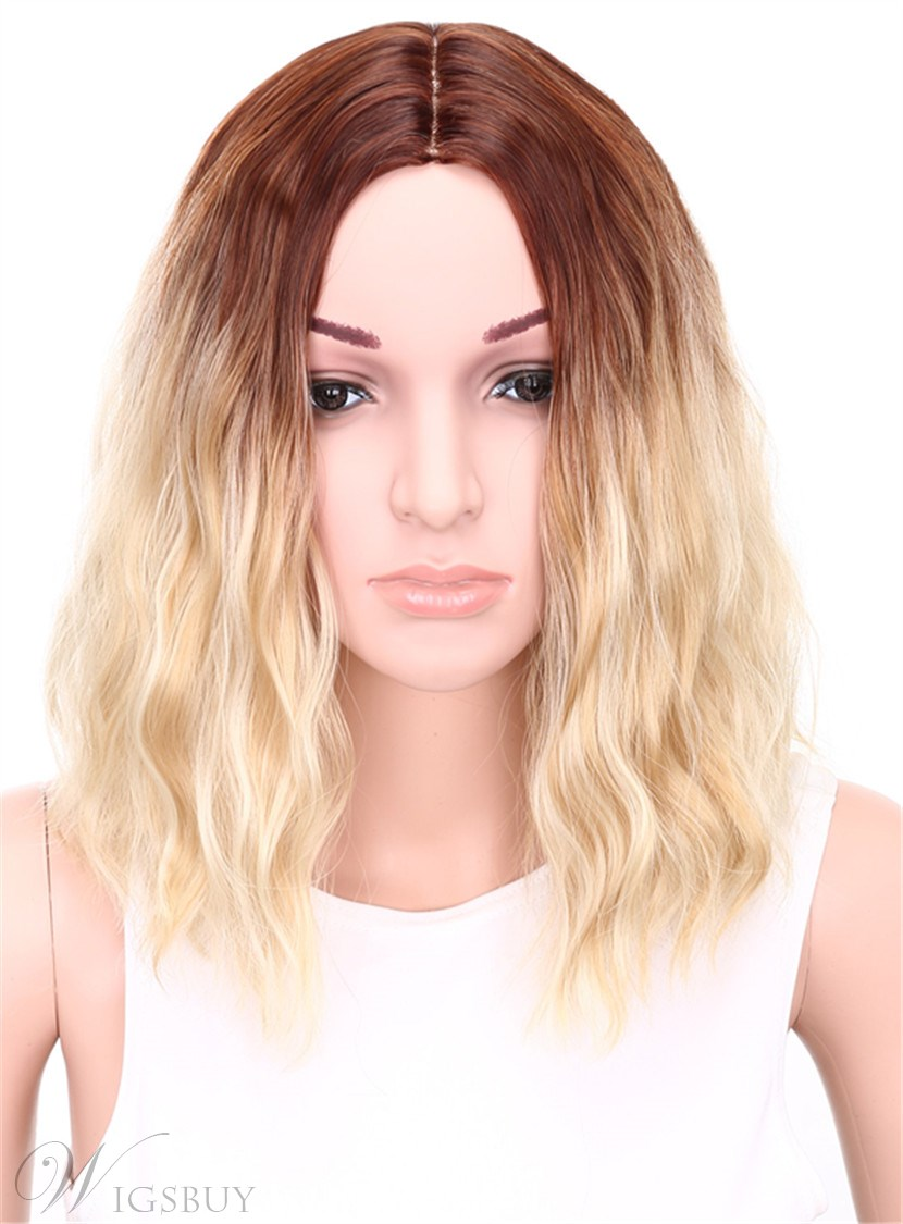 Aisi? Medium Wavy Bob Hairstyle Capless Blonde 12 Inches Synthetic Hair Wig 12679721