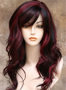 Side Swept Long Wave Synthetic Capless Women Wigs 22 Inches