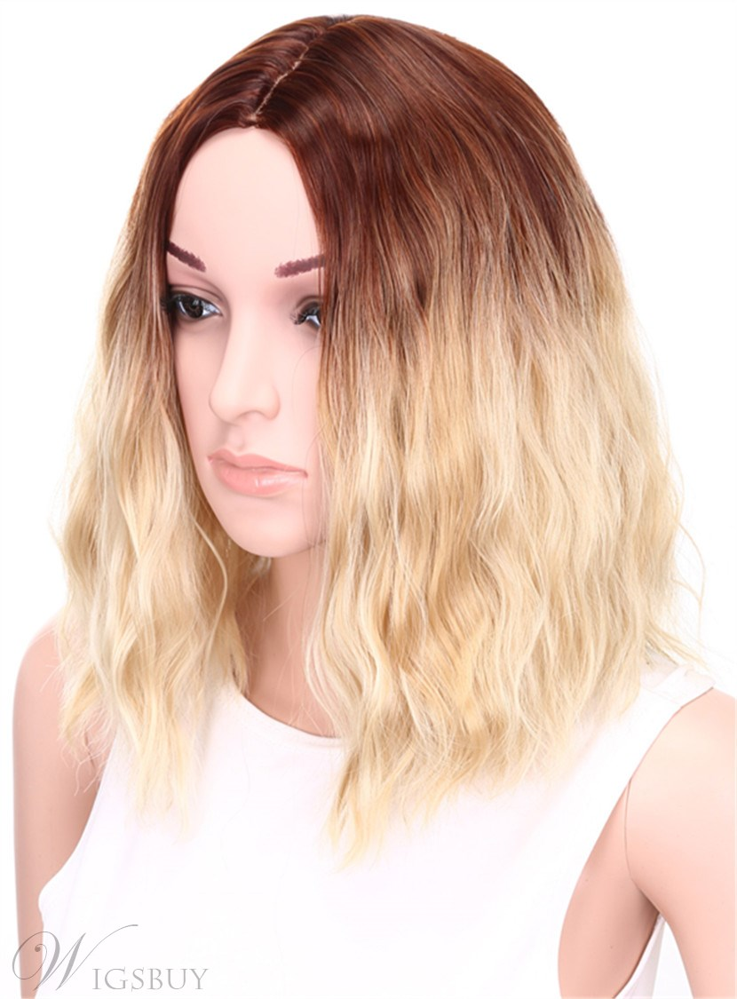 Aisi® Medium Wavy Bob Hairstyle Capless Blonde 12 Inches