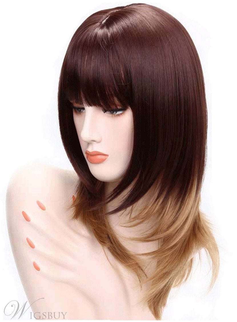 Aisi® Synthetic Capless Long Straight Full Bang Women Wigs 20 Inches