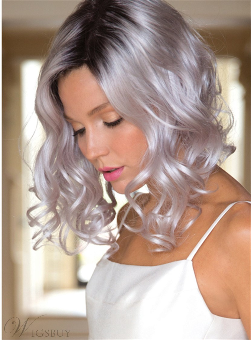 Aisi® Medium Long Curly Ombre White Dark Root Capless Synthetic Hair Wig 12 Inches
