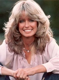 Farrah-Fawcett Mid-Length Wavy Silky Natural Bangs Synthetic Hair Capless 14 Inches