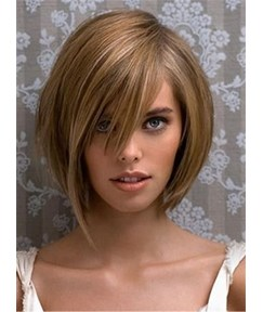 Short Straight Side Swept Fringes Bob With Bang Human Hairstyle Capless Wigs 12 Inches