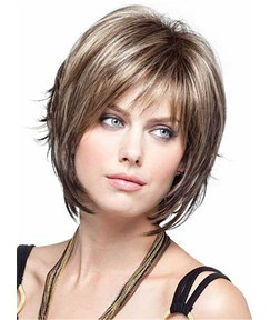 Short Straight Bob Hairstyle Nature Bangs Capless Synthetic Wig 10 Inches