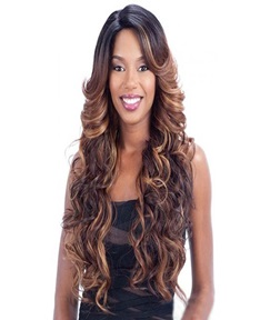 Aisi® Long Wavy Mixed Color Capless Synthetic Hair Wig 28 Inches