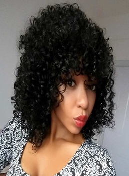 Aisi® Medium Curly Capless Synthetic Hair Wig 12 Inches
