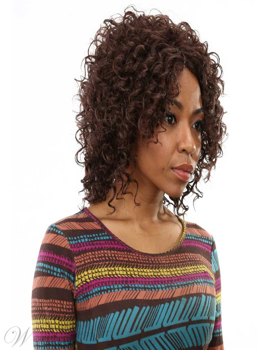 Aisi 174 Medium Kinky Curly Capless Synthetic Hair Wig 16
