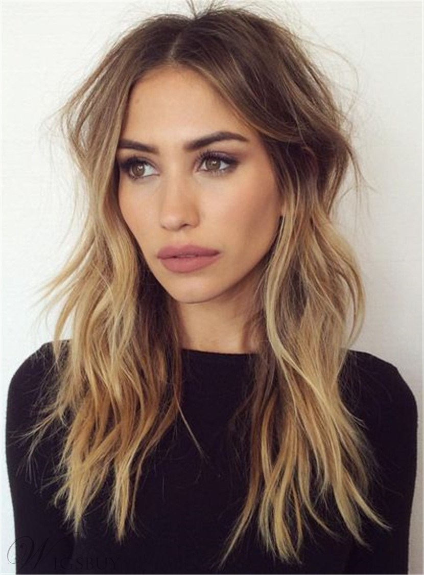 Long Wave Middle Parting Human Hair Lace Front Women Wigs 20 Inches