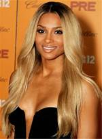 Ciara Hairstyles Long Wavy Cut Human Hair Lace Front Wig 24 Inches