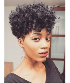 Short Curly Human Hair Capless Wig 8 Inches