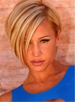 Short Straight Side Part Synthetic Hair Capless Wig 10 Inches
