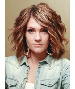 Short Wave Layered Side Swept Fringes Synthetic Lace Front Wigs 12 Inches