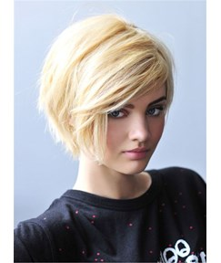 Layered Cut Short Straight Blonde Human Hair Lace Front Wig 10 Inches