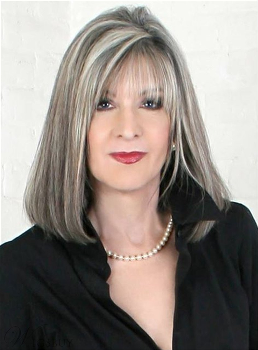 Mid-length Straight Capless White 14 Inches Synthetic Hair Bob Wig With Bangs