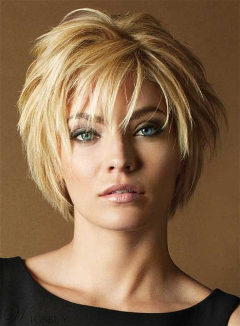 Short Layered Straight Human Hair with Bangs Capless Wigs