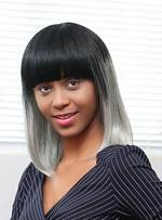 Mishair® Medium Straight Gray Ombre Human Hair With Bangs Capless Wigs 16 Inches