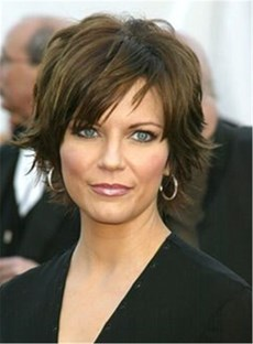 Short Natrual Straight Layered Human Hair Capless Wig 10 Inches