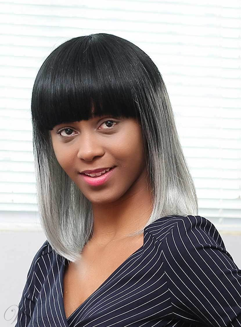 Mishair® Medium Straight Gray Ombre Human Hair With Bangs Capless Wigs 16 Inches 12737338