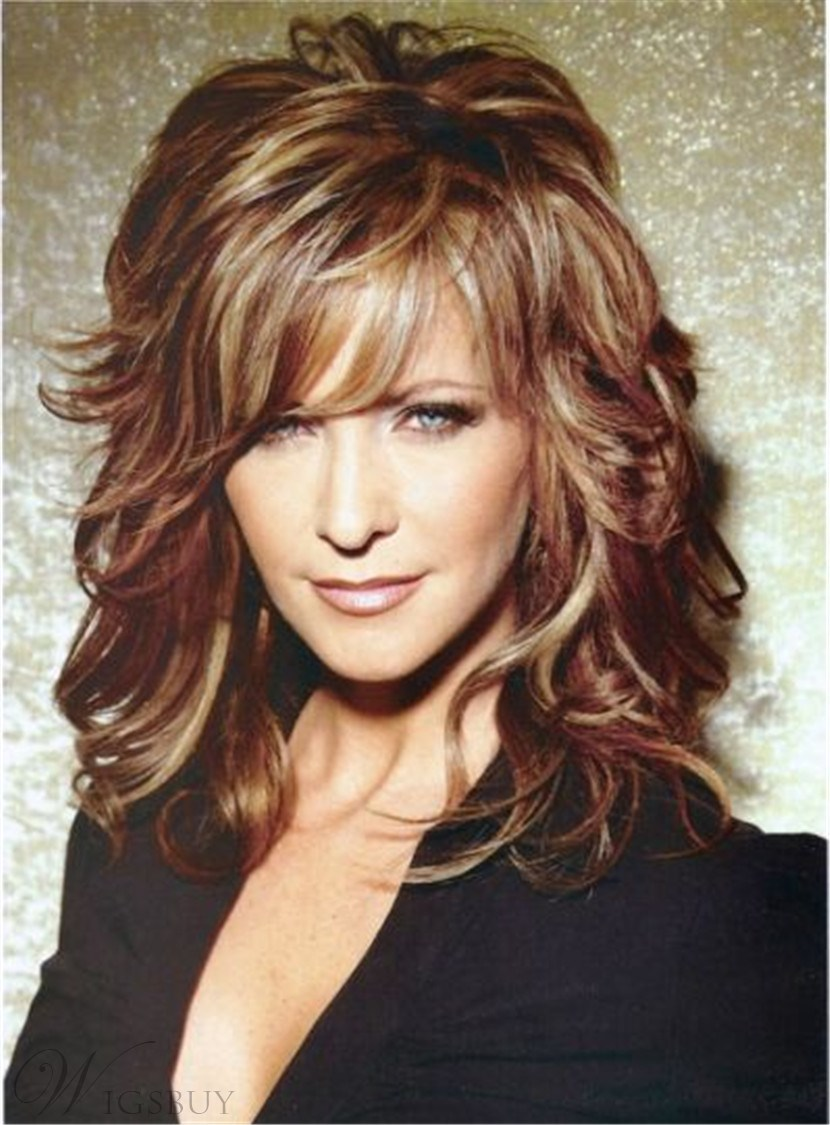Sexy Long Layered Wavy Mixed Red Synthetic Hair Capless Wig 14 Inches 12719065