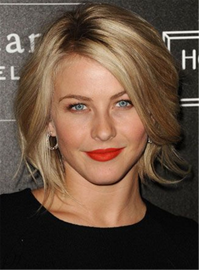 Short Nature Straight Side Swept Fringe Lace Front Human Hair Wig 10 Inches