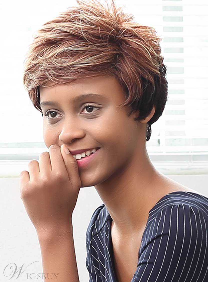 Mishair® Mixed Color Short Layered Curly Human Hair Capless Wigs 10 Inches