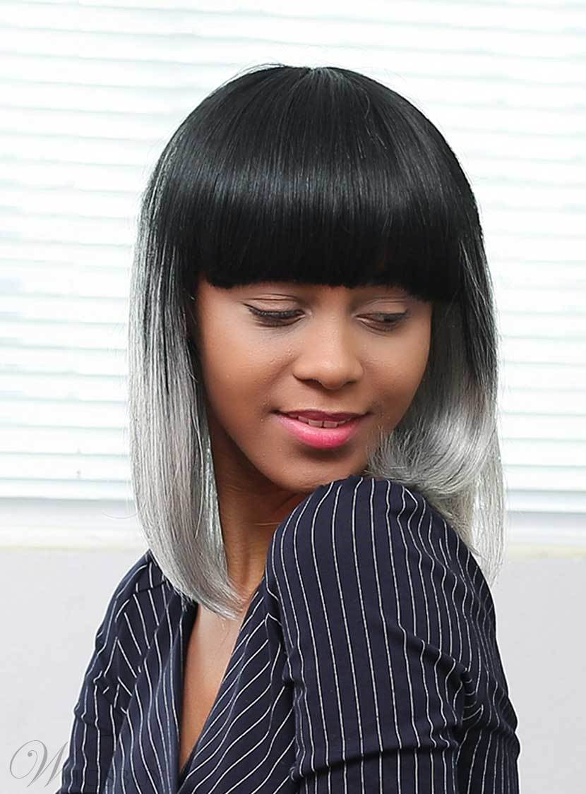 Mishair® Salt and Pepper Medium Straight Gray Ombre Human Hair With Bangs Capless Wigs 16 Inches