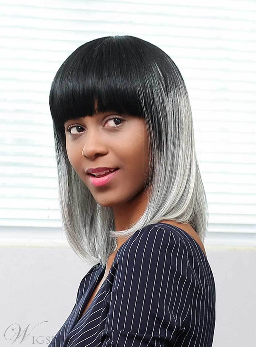 Mishair 174 Salt And Pepper Medium Straight Gray Ombre Human