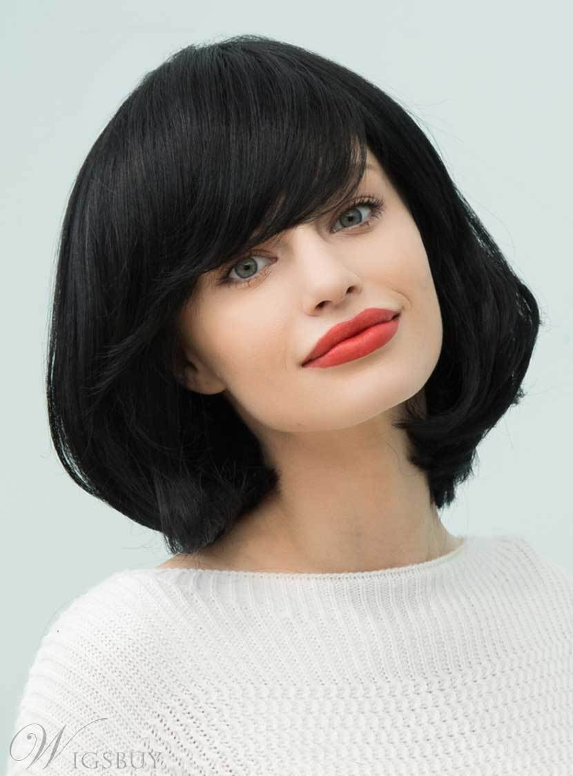 Mishair® Loose Bob Natural Black Medium Straight Human Hair With Bangs Capless Cap Wigs 14 Inches 12751206
