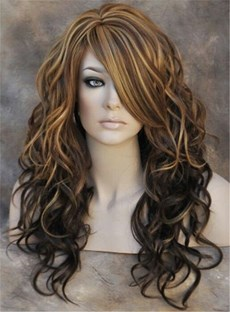 Sexy Fasinating Long Wavy Mixed Brown Synthetic Hair Capless Wig 20 Inches