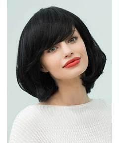 Mishair® Loose Bob Natural Black Medium Straight Human Hair With Bangs Capless Cap Wigs 14 Inches