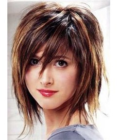 Short Layered Straight Human Hair With Bangs Capless Wig 12 Inches