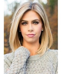 Mid-length Straight Blonde Full Lace Human Hair Wig 12 Inches