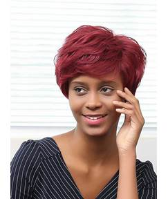 Mishair® Red Short Layered Messy Curly Human Hair Capless Wigs 8 Inches