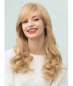 Mishair® Long Natural Wavy Side Part Bangs Human Hair Blend Capless Wigs 22 Inches
