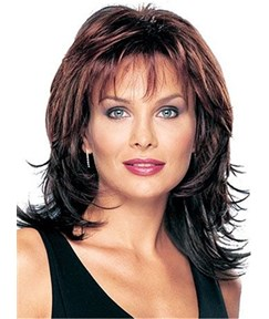 Middle Length Synthetic Capless Wigs Layered Shaggy Hairstyle with Full Bangs 12 Inches