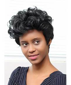 Mishair® Loose Short Curly Human Hair Capless Wigs 10 Inches
