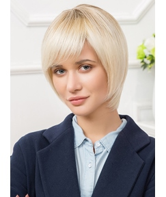 Mishair® Short Straight Lob Human Hair Blend Capless Wigs 10 Inches