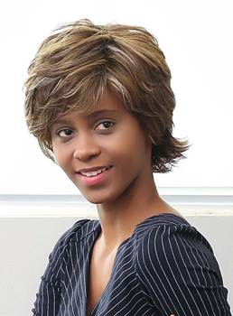 Mishair® Short Layered Messy Mixed Color Curly Human Hair Capless Wigs 10 Inches