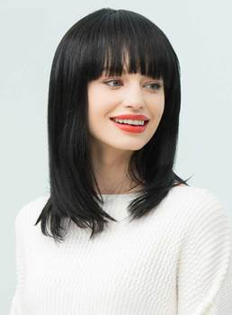 Mishair® Natural Black Straight Medium Human Hair With Full Bangs Capless Cap Wigs 16 Inches
