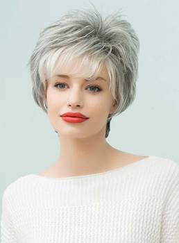Mishair® Curly Short Gray Human Hair Capless Wigs 8 Inches