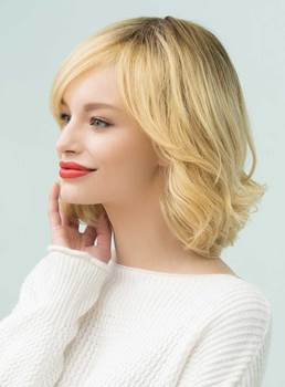 Mishair® Bob Hairstyles Wavy Mid-Length Human Hair Capless Wigs 14 Inches
